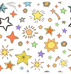 Collection of handdrawn stars seamless pattern vector image
