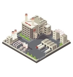 Colored factory industrial area isometric vector