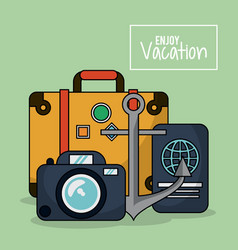Colorful poster of enjoy vacation with luggage and vector