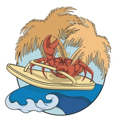 Crab surfer with flip-flops on a wave vector image
