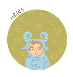 cute zodiac sign - aries vector image vector image
