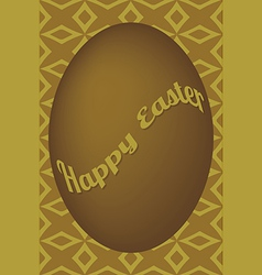 Dark gold egg easter card on shuriken pattern vector image