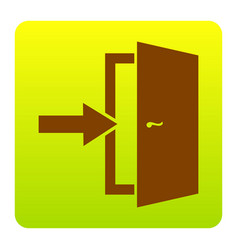 Door exit sign brown icon at green-yellow vector