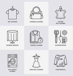 Dry cleaning laundry line icons launderette vector