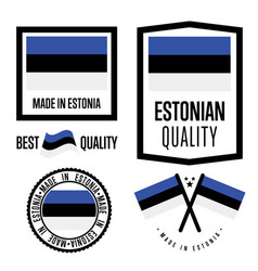 Estonia quality label set for goods vector