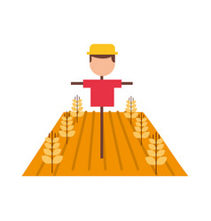 Farm scarecrow with wheat crop vector