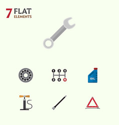 Flat icon workshop set of petrol wheel pump vector