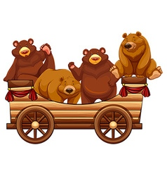Four bears standing on the wooden wagon vector