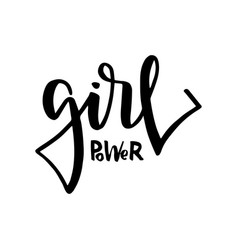 Girl power text feminism slogan black vector
