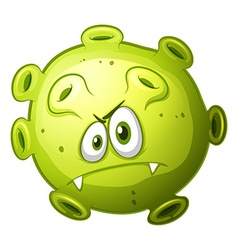 Green bacteria with evil face vector