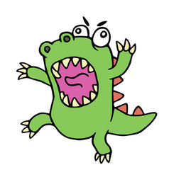 Mad cartoon dinosaur vector