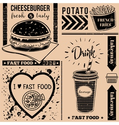 Menu pattern with fast food symbols vector