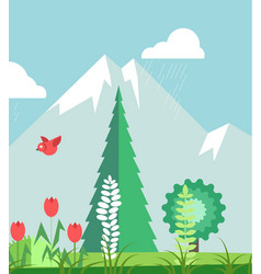 Mountains in summer time with plants graphic vector