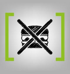No burger sign black scribble icon in vector