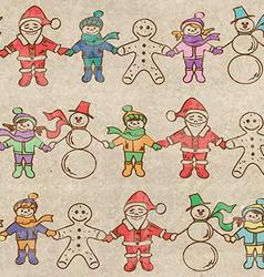 Retro christmas seamless pattern vector