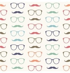seamless pattern of mustache and glasses vector image vector image