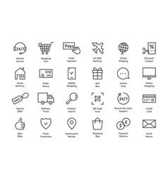 simple set of black thin line ecommerce icon vector image vector image
