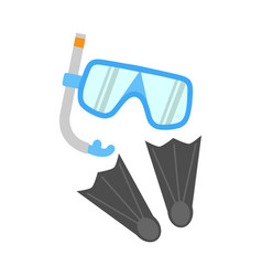 snorkel flippers and mask isolated on white vector image vector image