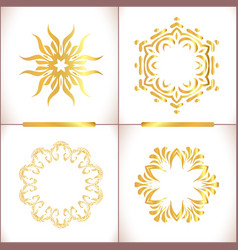 Traditional golden decor on white background vector