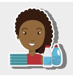 Woman cartoon clothes detergent vector