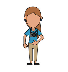 Woman tourist vector