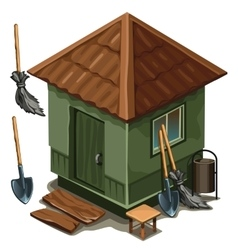 Simple village house broom and shovel vector