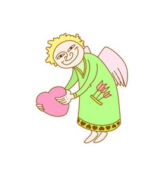 Cupid with heart in hand card for st valentine day vector