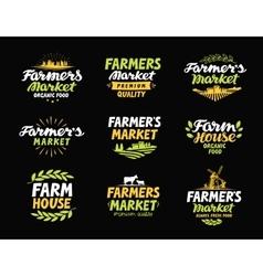 Farm logo farmers market farming vector
