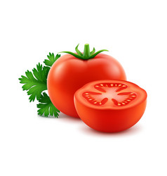 Red fresh cut whole tomatoes with parsley vector