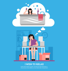 Woman wishing to relax flat vector