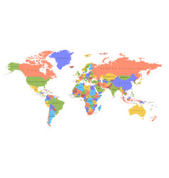 Color world map political map vector