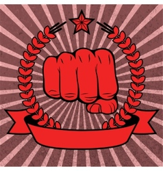 Clenched fist red poster with ribbon vector