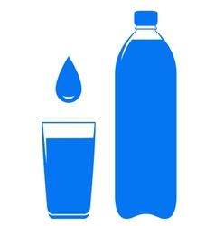 water bottle glass and drop vector image