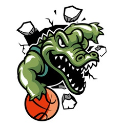 Crocodile basketball mascot break the wall vector