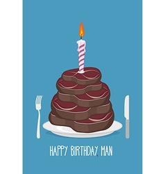 Cake cuts of meat happy birthday man delicious vector