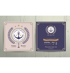Vintage nautical wreath and rope frame wedding vector