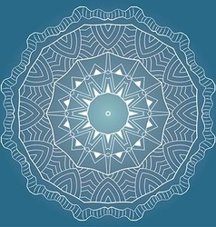 White round lace pattern on blue background vector