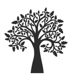 Silhouette of oak tree with leaves vector