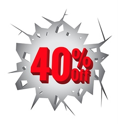 Sale 40 percent on hole cracked white wall vector