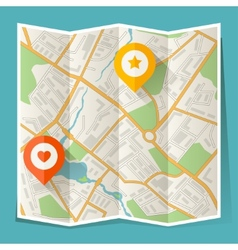 Abstract city folded map with location markers vector image