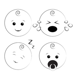 Baby smile icons vector