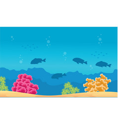Beauty landscape reef and fish underwater vector