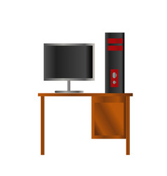 black and red design pc computer and lcd on the vector image