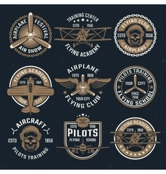 Brown airplane emblem set vector