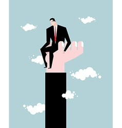 Businessman standing on hand Rise of man Help from vector image vector image