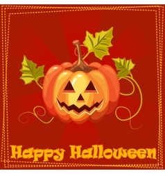 Card Happy Halloween with orange pumpkin vector image vector image