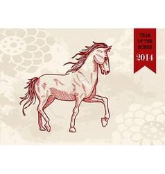 Chinese new year horse hand drawn file vector