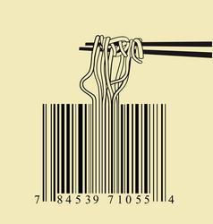 chopsticks spaghetti barcode design idea concept vector image