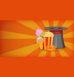 circus horizontal banner magician cartoon style vector image vector image