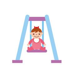 Cute girl baby on swing avatar character vector